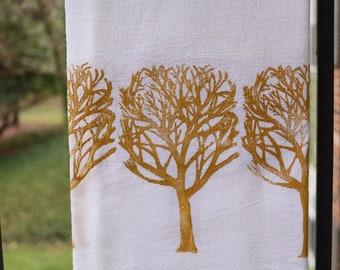 Yellow Tree Print Flour Sack Tea Towel Block Printed Tea Towel Hand Printed Towel Kitchen Towel Housewarming Gift for Mother Hostess Gift