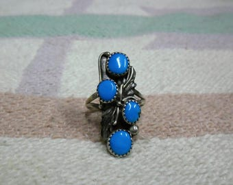 Native American Vintage Sterling Silver And Turquoise 4 stone Ring Size 8