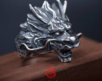 Sterling Silver 925 Chinese Dragon Ring, Songyan Jewelry
