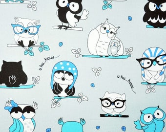 COTTON GREY OWLS TURQUOISE COUPON