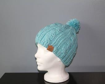 Aqua blue crochet braided cable hat