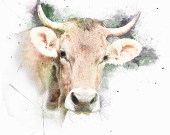 Cow Art, Animal Watercolor, Cow Canvas Wall Art, Nursery Watercolor