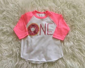 "1st birthday donut shirt, donut ""ONE"", custom personalized, donut birthday shirt, donut tshirt, donut bday shirt, birthday girl shirt"