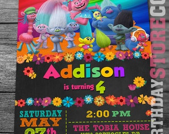 Trolls Birthday Invitation with FREE Thank you Card! Trolls invitation, Trolls Digital Invitation, Trolls Party, Trolls poppy, Trolls