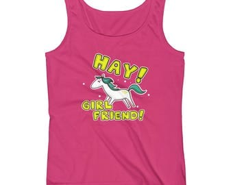 Hay Girl Friend Ladies Tank Top - Horse Riding Tank - Gift for Horse Lover - Tank Tops for Women - Gift for Girlfriend