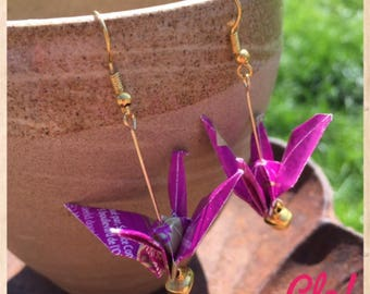 The purple - gold origami earrings