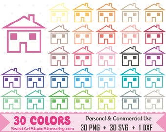 House Clipart, Home planner SVG Silhouette Cricut Cut File Commercial Use (Png Svg Dxf)
