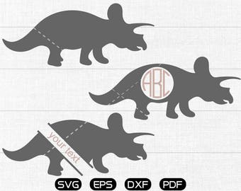Triceratops dinosaur Svg, Triceratops Clipart, Monogram Frame cricut, cameo, silhouette cut files commercial & personal use