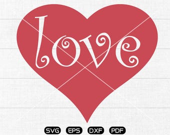 LOVE Heart svg, Valentine's Day svg, Heart Clipart, cricut, silhouette cut files commercial use