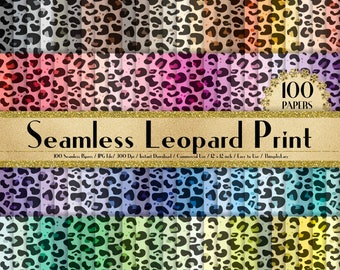 "100 Seamless Leopard Print Papers in 12"" x 12"", 300 Dpi Planner Paper, Scrapbook Paper,Rainbow Paper,100 Leopard Skin Papers"