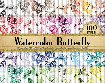 """100 Seamless Watercolor Butterfly Papers in 12"""" x 12"""", 300 Dpi Planner Paper, Commercial Use, Scrapbook Paper, 100 Butterfly Papers"""
