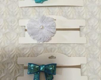 3x Baby Toddler Girls Newborn  Headbands. One size fits all. Thin nylon. Valentine's Day headbands. Aqua blue, silver and white. AUSTRALIA