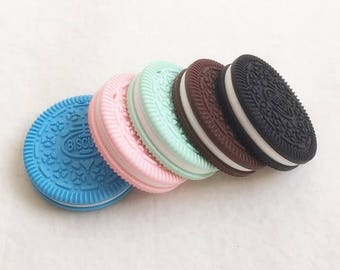 Pearl silicone cookie Oreo 100% silicone for pacifiers, teething necklaces ties...