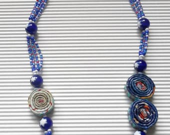 Recycle necklace ' blue