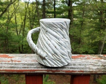 Carved Mug / Speckled Mug / Textured Mug / Unique Mug / Wheel Thrown Mug / Handmade Pottery Mug