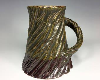Small Mug / Green Mug / Carved Mug / Textured Mug / Unique Mug / Handmade Pottery Mug