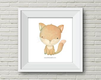 Downloadable Prints Wall Art Modern Print Animal Printable Nursery fox squirrel horse turtle brown orange cream illustration cute