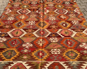 Old Rug Turkish Antique Vintage 1950's