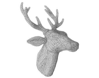 "Raz Imports 18.5"" Wall Silver Rhinestone Deer Head RAZ3703470"