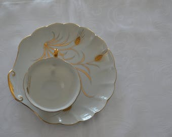 Lefton China Hand Painted Wheat Tea Snack Plate and Cup (1940)