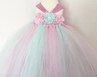 Age 1-2 Girls flowergirl pink and mint tutu dress, flowers & ribbon. Birthday cakesmash. Extra fluffy. Fairy costume.