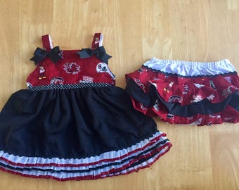 USC Gamecock Dress with Ruffle Bloomers