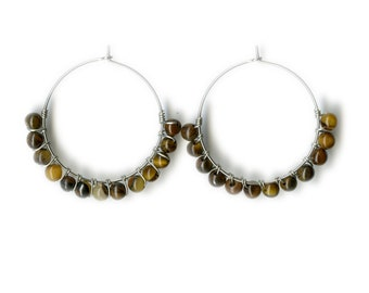 Tiger Eye Hoop Earrings