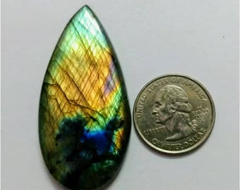 56.75 x28.85 mm,Pear Shape/Tear Drop Labradorite Cobochon/Multy Flash/wire wrap stone/Super Shiny/Pendant Cabochon/Semi Precious Gemstone