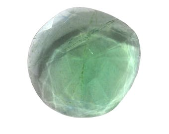 Fluorite Natural Green Fluorite Rose Cut Polki Both Side Faceted 56.30 cts 33x35 mm For Designer Jewelry 3930