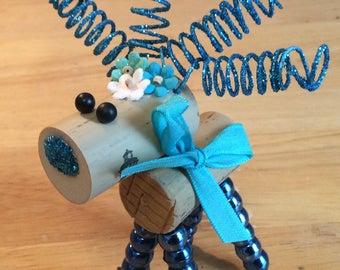 Wine Cork Deer / Reindeer - blue bow