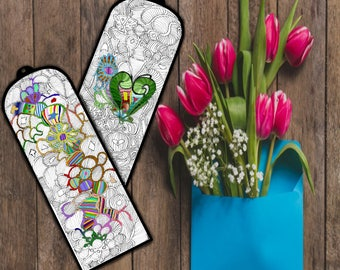 Coloring Bookmarks, Printable, Instant download,Bookmark,Book,Coloring