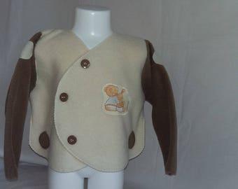 Polar fleece jacket light brown and ecru 4 m to 18 months mixed