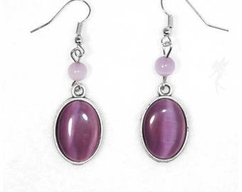 "Earrings ""Lavender"" silver and glass"
