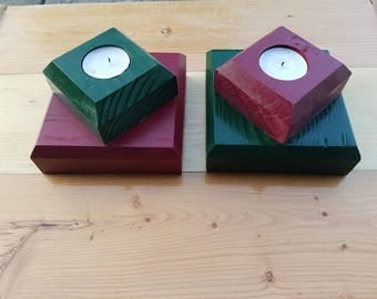 Green and Red Tea light holders.