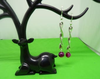 Silvered with Fuchsia agate bead earrings