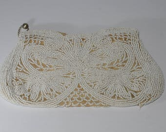 Vintage clutch bag, Gorgeous White Beaded, Clutch, Lace Design, Vintage, Wedding Clutch, Romantic, graduation