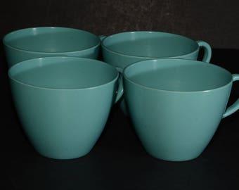 MELMAC Teacups, set of 4 Turquoise teacups, Hard Plastic, Melamine, Melmac Dinnerware, Camping, Melmac Canada, turquoise blue, Coffee cup