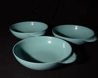 Vintage, Set of 3, MELMAC, Turquoise blue, medium bowl, handle, aqua blue, Mid century, Hard Plastic, Melamine, Dinnerware, Canada, rare
