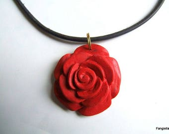 """Flower necklace """"cinnabar"""" 47cms black leather cord and gold chain"""