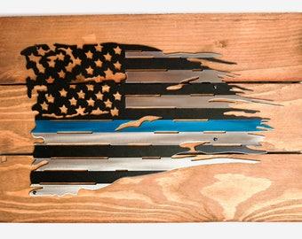 Distressed Steel LEO (Law Enforcement Officer) Flag /Thin Blue Line