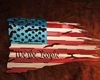 "Distressed Steel battle flag ""We the People"" Preamble Font"
