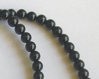 6 FINE ONYX GEMSTONE 8 MM BLACK PEARLS
