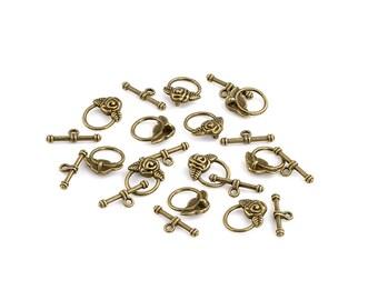 6 fermoir toggle cercle fleur en métal couleur bronze antique