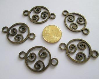 5 connecteur celtique en métal couleur bronze 37x23mm