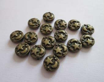 10 perles palet étoile lune en métal bronze 9 x 4 mm trou 1 mm