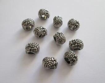 10 perles baroque à gros trou en métal argenté 10 x 8 mm