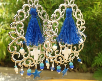 Silver Blue tassel hoop earrings