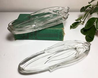 Vintage Glass Corn Dishes - Set of Three
