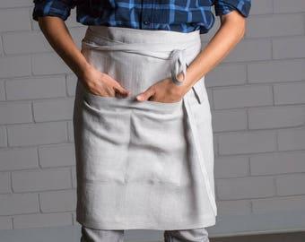 Linen apron - Washed linen apron - Kitchen apron - Cafe apron - Handmade linen apron