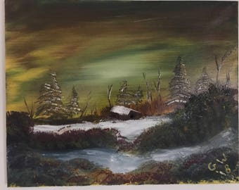 Winter Cabin Oil Canvas Painting